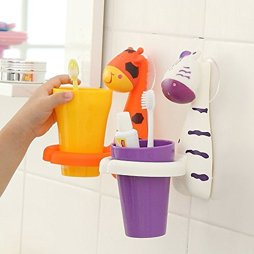 Cute Cartoon Animal Sucker Gargle Cup Mount Suction Toothbrush Holder Suction Cup Cover Wash Set