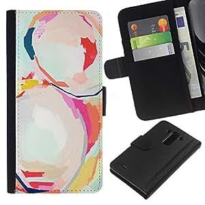 For LG G3 Case , Art Painting Modern Watercolor Art - la tarjeta de Crédito Slots PU Funda de cuero Monedero caso cubierta de piel