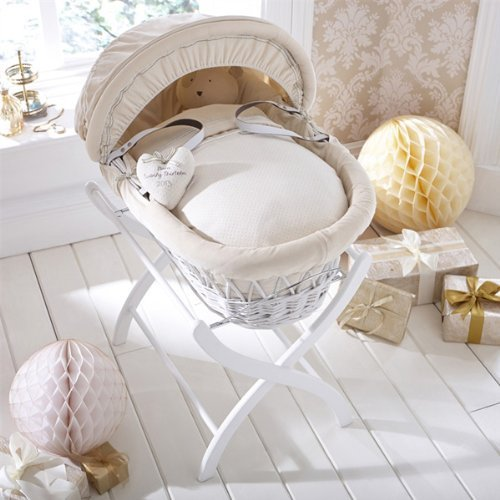 Izziwotnot Cream Premium Gift on White Wicker Moses Basket by Izziwotnot