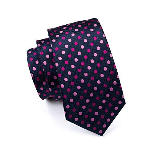 Cufflinks Blue Men's Polka 0799 Set Hanky Tie CAOFENVOO Men's N Pink Dots Necktie 0qBwTB