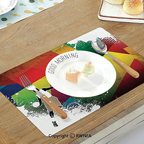 (SfeatruMAT Washable Table Mats Reptiles Multi Colored Mosaic Wild Trex Illustration Opens Mouth Jurassic Pixel Dinosaur Home Decor Non-Slip Heat Resistant Decor Placemat Multi)