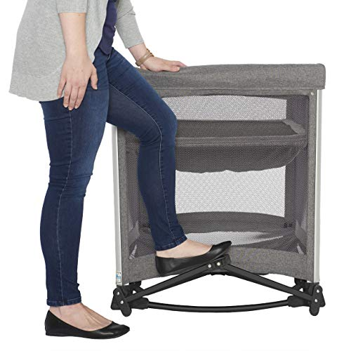 51AQ45L8fKL - HALO 3-in-1 DreamNest Plus Bassinet, Portable Crib, Travel Cot With Rocking Attachment, Breathable Mesh Mattress, Easy To Fold Pack And Play