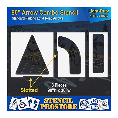 Parking Lot Stencils - 90 inch - Slotted Straight & Turn Combo Arrow KIT - (3 Piece) - 90