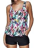 ebuddy Women Summer Sports Vest Style Top with Boy-Leg Bottom Bikini Tankini Sets,Colorful Flwoer-M