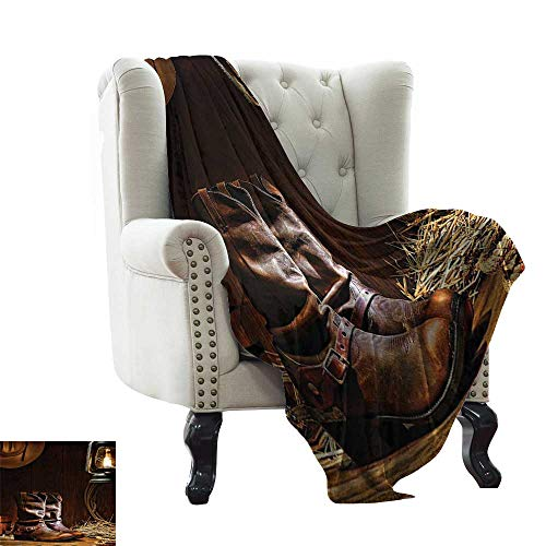 Western Decorations Collection,Throw Blankets Traditional Leather Roper Boots Picture Print 70
