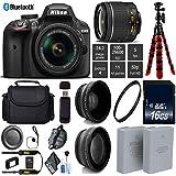 Nikon D3400 DSLR 24.2MP DX CMOS Camera AF-P 18-55mm VR Lens + LED Light kit + Wide Angle & Telephoto Lens + 12 inch Flexible Tripod + Camera Case - International Version