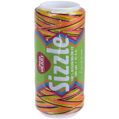 Red heart sizzle crochet nylon, neon mix