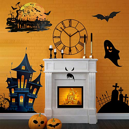 Motiloo Halloween Window Stickers,Halloween Window Clings Halloween Decorations Clings Window Decals Reusable Ghosts Bats Halloween Windows Glass Decals