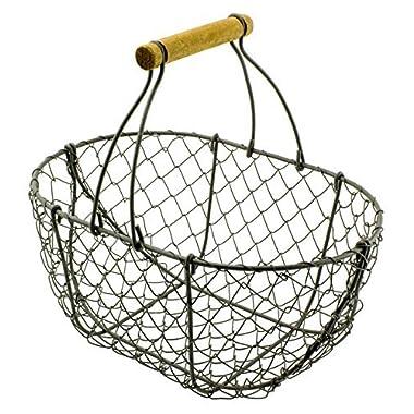 Garden Harvest Metal Wire Basket with Handle -9 H x 9 W x 6 Deep