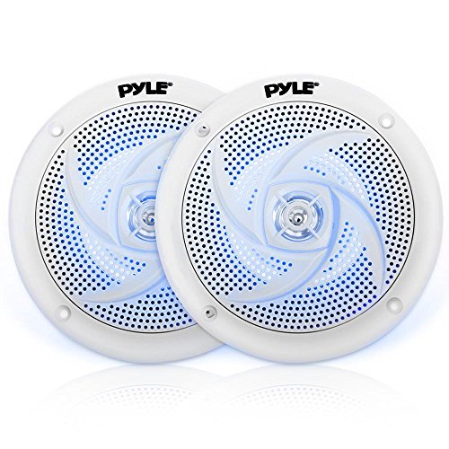 (Pyle Marine Speakers - 4 Inch 2 Way Waterproof and Weather Resistant Outdoor Audio Stereo Sound System with LED Lights, 100 Watt Power and Low Profile Slim Style - 1)