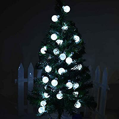 Color Our Life Outdoor Solar String Lights,19.7ft(6M) 30 LED Crystal Ball Globe Fairy Strip Lights for Garden Fence Path Landscape Christmas