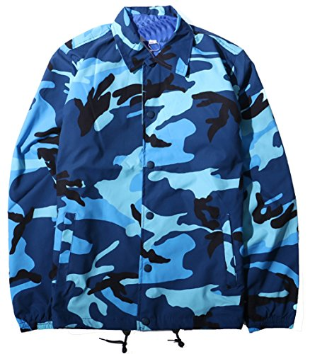 - Men's Casual Twill Military Outwear Camo Hipster Hip Hop Cargo Jacket (Blue, X-Large)