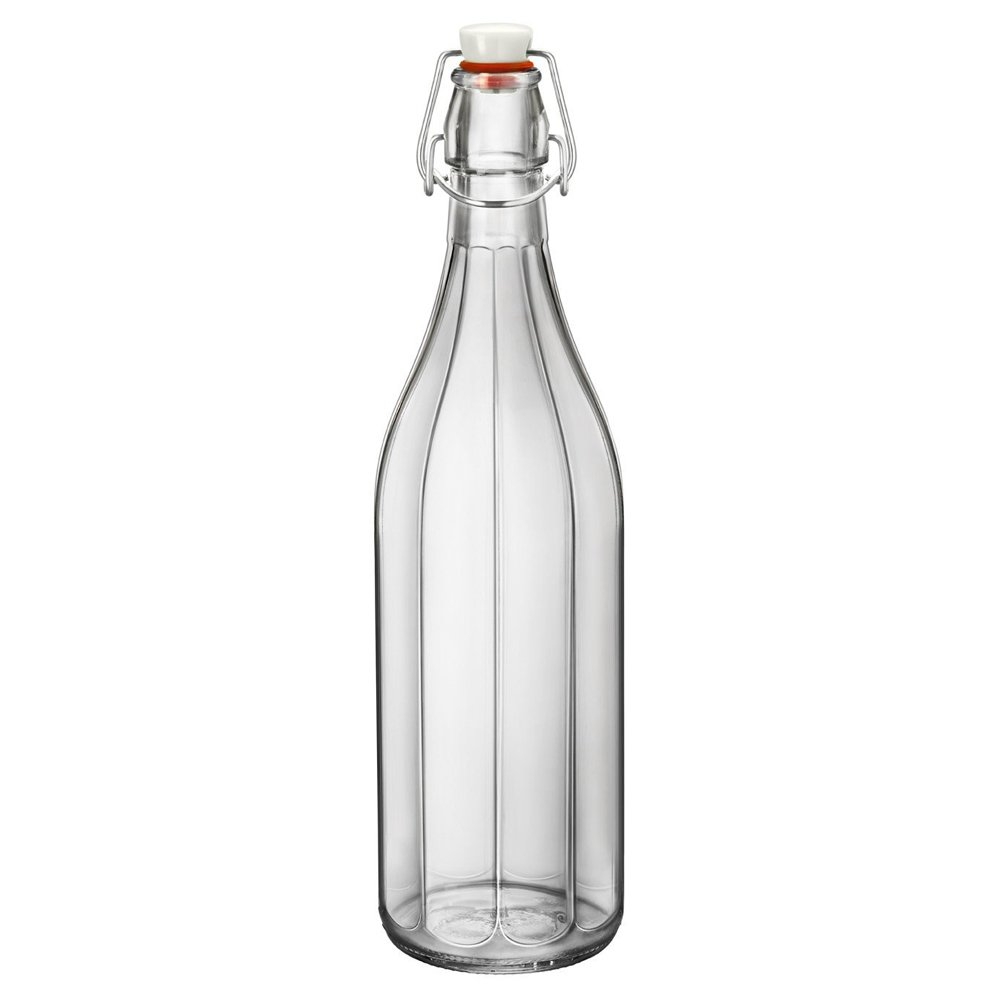 Bormioli Rocco Oxford Table Water Bottle 1 Litre - Set of 6 - Clip Top Glass Bottle, Ideal for Homemade Cordials