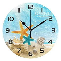 Dozili Ocean Sea Beach Seashell Starfish Decorative Wooden Round Wall Clock Arabic Numerals Design Non Ticking Wall Clock Large for Bedrooms, Living Room, Bathroom
