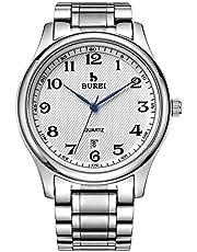 BUREI Classic Herren & Damenuhren Analoge Quarz-Armbanduhr mit Datumskalender, Kratzfester Linse und Edelstahlband