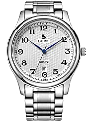 BUREI Mens Stylish Quartz Dress Watches with White Dial Date Calendar Mineral Glass Stainless Steel Band (white)