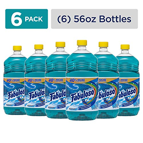 (FABULOSO All Purpose Cleaner, Ocean Paradise, Bathroom Cleaner, Toilet Cleaner, Floor Cleaner, Washing Machine and Dishwasher Surface Cleaner, Mop Cleanser, Kitchen Pots and Pans Degreaser, 56 Fluid Ounce (Pack of 6) (153042))