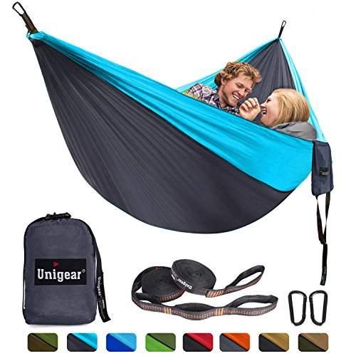 (Unigear Double Camping Hammock, Portable Lightweight Parachute Nylon Hammock with Tree Straps for Backpacking, Camping, Travel, Beach, Garden )