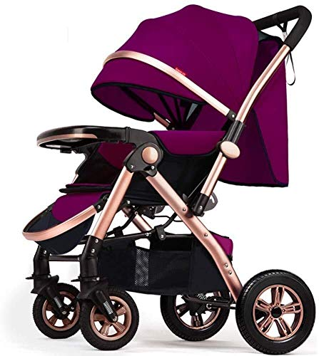 Pushchair Baby Stroller Foldable Pram 2 in 1 Two-Way Stroller Damping Folding Light Weight Baby Four Seasons,78x54x110cm yangmi (Color : Purple)