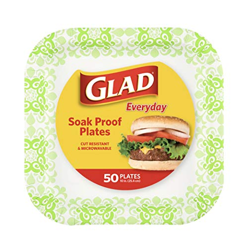 "Glad Tabletop Square Disposable Paper Plates for All Occasions | Soak Proof, Cut Proof, Microwaveable Heavy Duty Disposable Plates | 10"" Diameter, 50 Count Bulk Paper Plates, Green Victorian - 10"""
