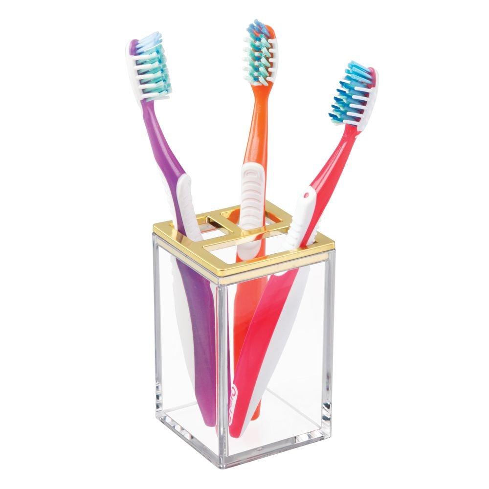 Plastique Interdesign 41289EU Porte Dents pour Les Meubles-lavabos-Transparent//Or bross/é Clarity 6,35 x 0,25 x 10,16 cm