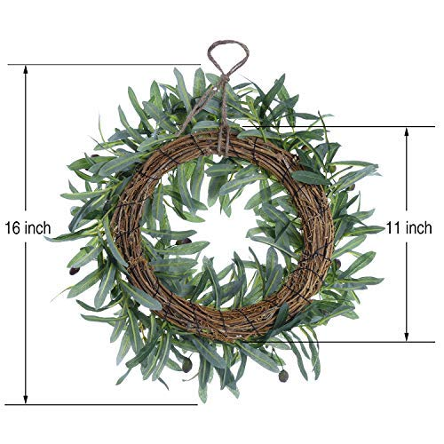 16 Olive Leaf Wreath,Artificial Olive Wreath Natural Vines Green Wreath for Front Door Indoor or Outdoor Wall Wedding Home Decoration