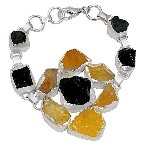 Smoky Quartz, Citrine & Apatite Bracelet By Orchid Jewelry| Smoky Quartz Jewelry| 925 Sterling Silver Bracelet| Sterling Silver Womens Bracelets| Fine Silver Jewelry Bracelets| Fine Bracelets (140 Ct)