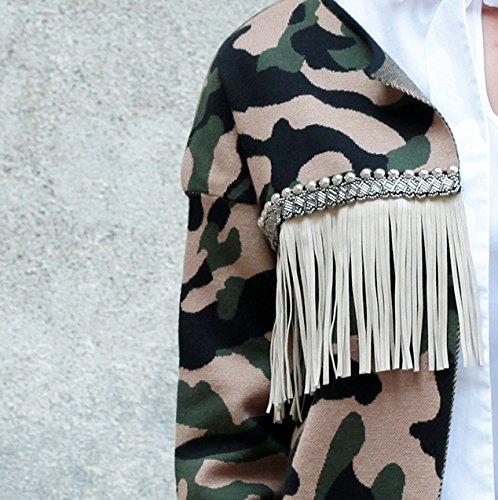 le volière Damen Wolljacke Mantel mehrfarbig camo, militare