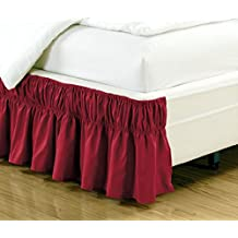 """Wrap Around 16"""" inch fall BURGUNDY RED Ruffled Elastic Solid Bed Skirt Fits all TWIN and FULL size bedding High Thread Count Microfiber Dust Ruffle, Soft & Wrinkle Free."""