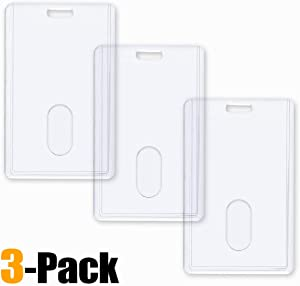 3 Pack - VerticalHeavy Duty ID Badge Holders by Vetoo, Hard Plastic Clear Acrylic with Thumb Slots - Holds 2 Cards