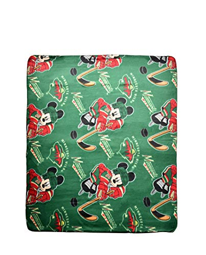 Officially Licensed NHL Minnesota Wild 50 X 60 Mickey Mouse Character Fleece Throw by Northwest