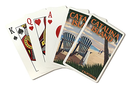 Catalina Island, California - Adirondack Chairs and Sunset (Playing Card Deck - 52 Card Poker Size with Jokers)