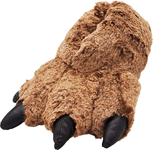 NORTY - Mens Tan Timber Wolf Claw Animal Slippers, Brown 40756-Large -