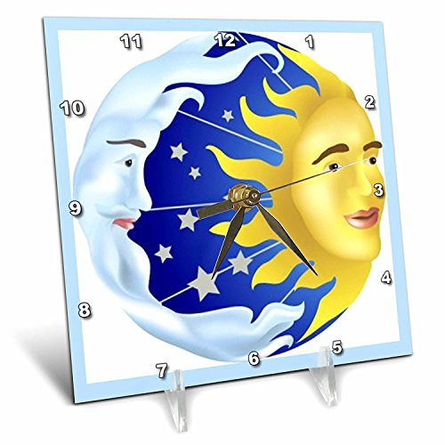 (3dRose dc_39599_1 Sun Moon and Stars Desk Clock, 6 by 6-Inch )