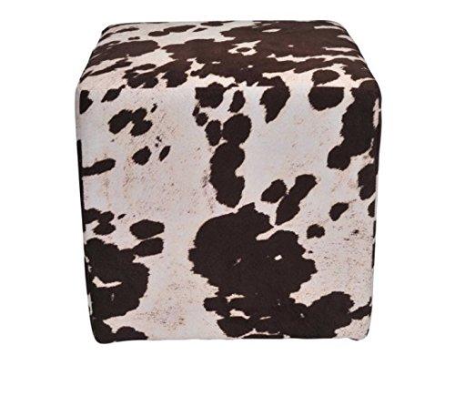 Urban Shop Cow Print Square Pouf, Brown Splatter, Brown