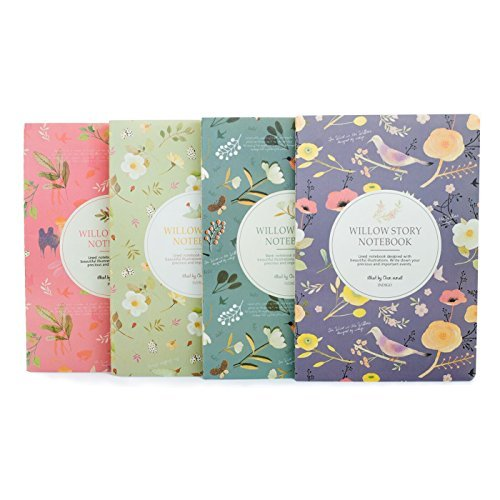 ok Dairy Book Journal Record A5 Flowers Softcover Composition Book, Pack of 4 (4pk Books)