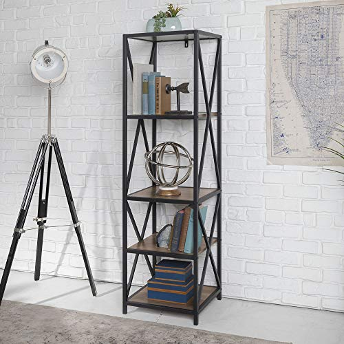 WE Furniture AZST18XMWRO Bookshelf, Rustic Oak/Black Metal