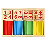 Robolife Number Cards and Counting Rods ,Montessori Math Intelligence Stick Preschool Educational Toys for Kids 3+