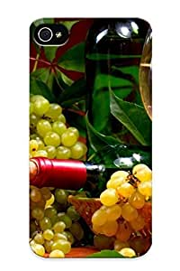 Case Provided For Iphone 4/4s Protector Case White Wine And Grapes Phone Cover With Appearance