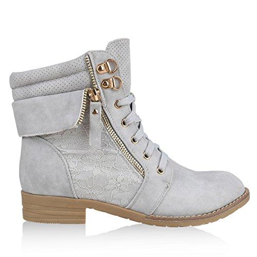Stiefelparadies Damen Schnürstiefeletten Stiefeletten Worker Boots Kurzschaft-Stiefel Spitzenstoff Leder-Optik Schuhe Zipper Flandell Hellgrau