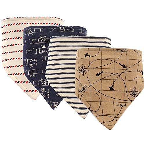 Hudson Baby Unisex Baby Cotton Bandana Bibs, Airplanes 4 Pack, One - Pacifier Airplane