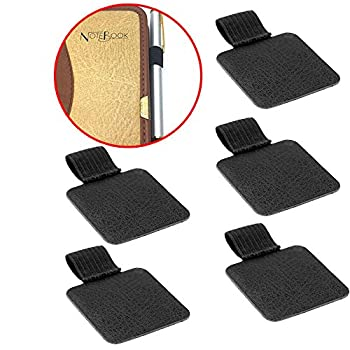 EASTERUP Pack of 5 Self-adhesive Leather Pen Holder Pencil Elastic Loop for Notebooks,Journals,Clipboards