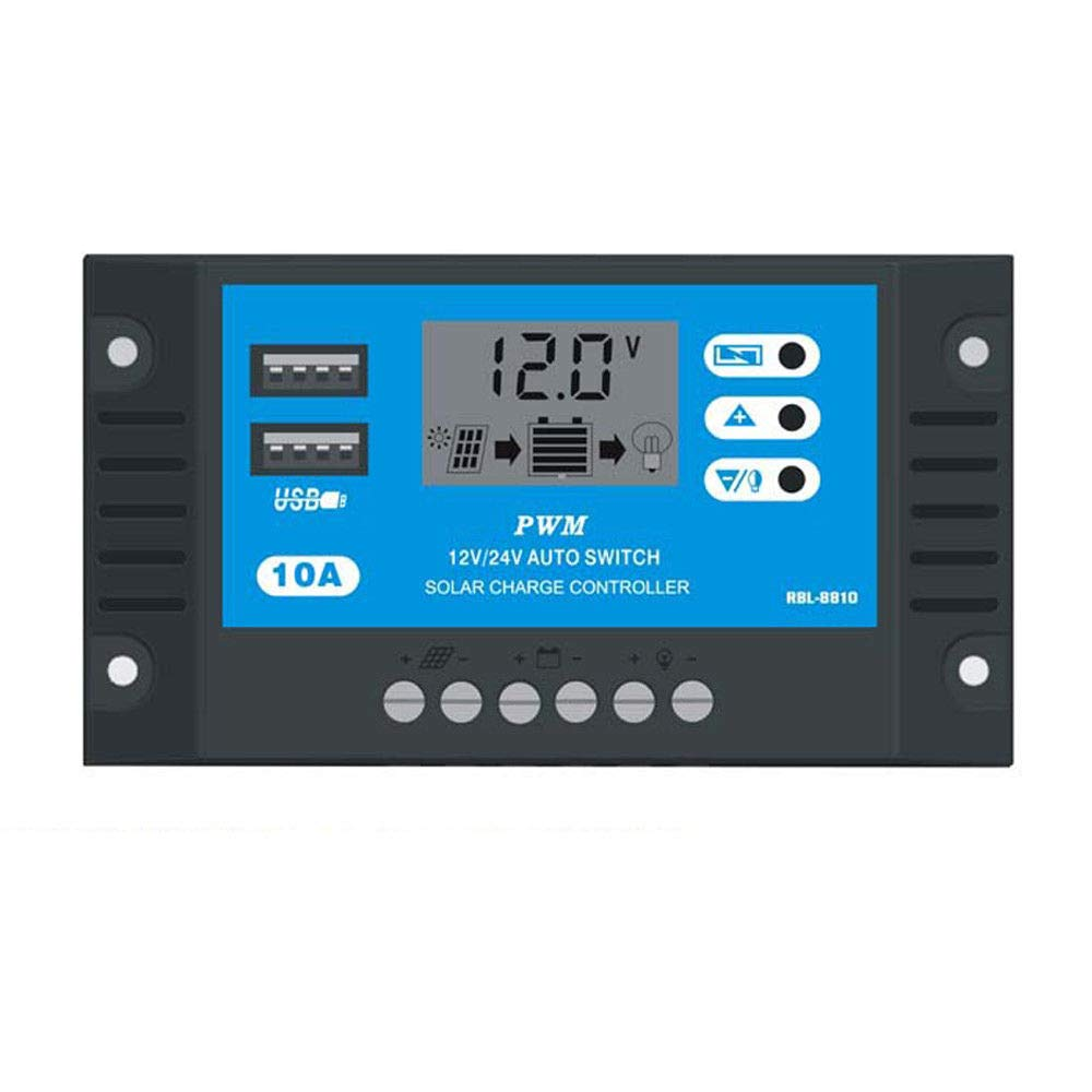 10A PWM LCD USB Solar Panel Battery Regulator Charge Controller 12V 24V (Blue, One Size)