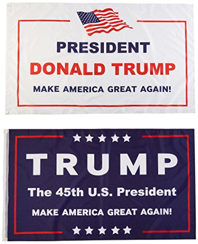 2 Pack -- 3x5ft Commemorative Trump Flag -- Presidental Inauguration Donald Trump -- The 45th U.S. President -- White+Blue -- MAKE AMERICA GREAT AGAIN!!!