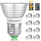 Warmoon Dimmable E26/E27 LED Bulbs,3W RGB Color Changing Spotlight with IR Remote Control Mood Ambiance Lighting for Home Decoration, Bar, Party(Pack of 8)