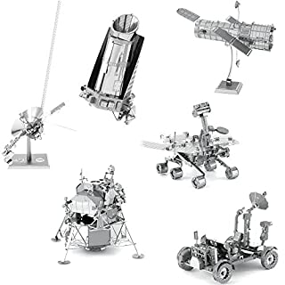 fascinations Metal Earth Space 3D Metal Model Kits -Hubble Telescope – Apollo Lunar Rover – Apollo Lunar Module – Mars…