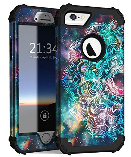 Hard Plastic Silicone - Hocase iPhone 6s Case, iPhone 6 Case, Shockproof Heavy Duty Hard Plastic+Silicone Rubber Bumper Full Body Protective Case with 4.7-inch Display for iPhone 6s, iPhone 6 - Mandala in Galaxy