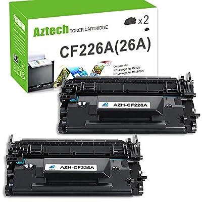 Aztech 2 Pack Replaces 26A CF226A Black Toner Cartridge 3,100 Pages Yield For LaserJet Pro M402dn M402n M402d M402dw , LaserJet Pro MFP M426dw M426fdw M426fdn , M402 M426 Series Printer