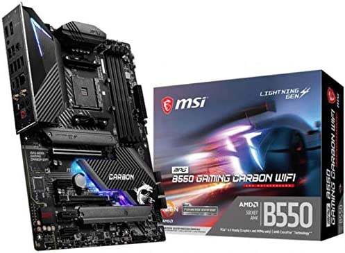 MSI MPG B550 Gaming Carbon WiFi Gaming Motherboard (AMD AM4, DDR4, PCIe 4.0, SATA 6Gb/s, Dual M.2, USB 3.2 Gen 2, HDMI/DP, Wi-Fi 6 AX, ATX, AMD Ryzen 5000 Series Processors)