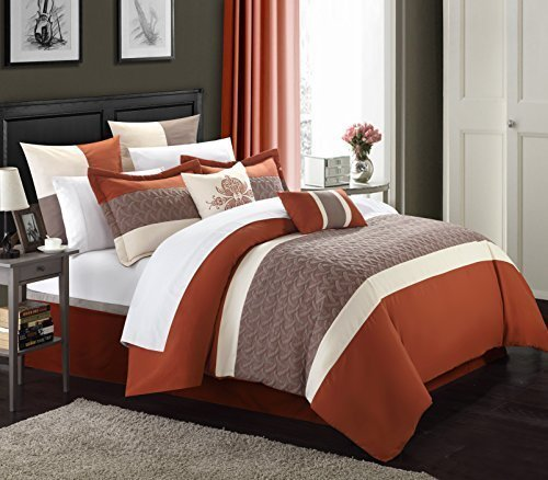 Chic Home 8-Piece Lucca Quilted Embroidered Comforter Set...